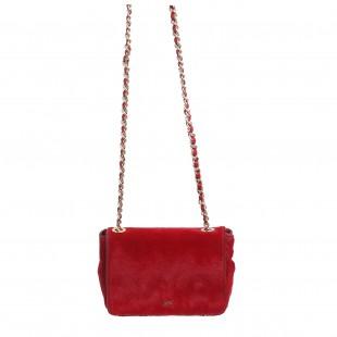 borsa con catena a tracolla rossa